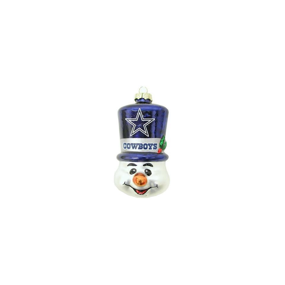 Dallas Cowboys Blown Glass Snowman Top Hat Christmas Tree Ornament