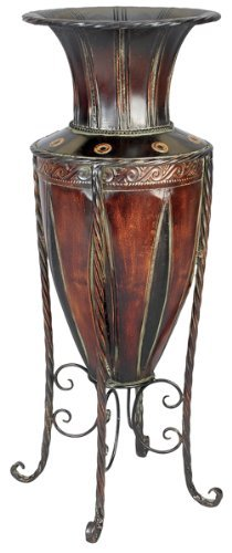 Tuscan Old World Metal Planter Vase with Stand