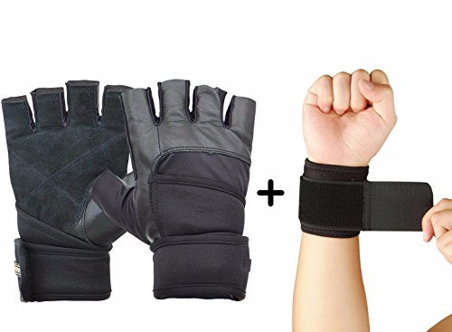 Nivia Prowrap Gym Gloves Combo, LARGE (Nivia Prowrap Gym Gloves + Nivia Wrist Support) BLACK  available at amazon for Rs.749
