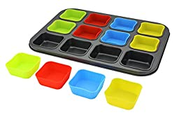 LANSH Muffin/Cupcake Pan with 12 Square Cavities and Silicone Muffin/Cupcake Holders