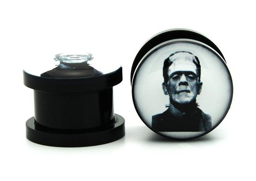 4g 5mm Acrylic Frankenstein Ear Gauges Plugs Screw On Vampire (Sold By Pair)