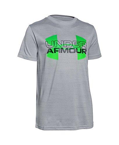 Under Armour Boys' Tech Big Logo Hybrid T-Shirt, Overcast Gray (941), Youth Small