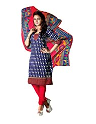 RUDRA FASHION Women's Blue & Pink Cotton Salwar Suit Unstiched Dress Material With Matching Cotton Dupatta (DS... - B0117F9VUG
