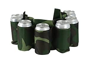 Camo Beer Belt, Holds 6 Cans or Bottles - Camouflage Holster