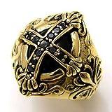 真鍮アクセサリー ブラス リング 指輪 ブラックジルコニア オニキス クロス 十字架 百合の紋章 フレア bssri0003 【21号】