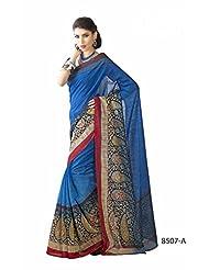 Amazing Blue Bhagalpuri Printed Art Silk Designer Saree