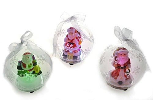 Youseexmas Set Of 3 Handblown Light Up Glass Santa Ornament With Timer