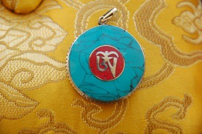 Tibetan Turquoise and Coral Om Pendant From Nepal