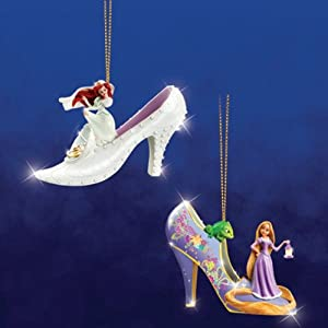 Disney's Once Upon A Slipper Ariel And Rapunzel Figurine Shoe Ornaments Set of 2