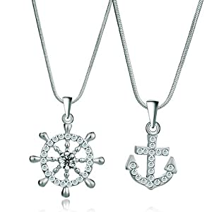 Pugster 2 Pieces of Clear Crystal Rudder Ad Hooks Couple Pendant Lovers