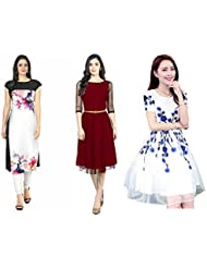 Sky Global Women's Regular Wear Kurti (Combo Pack Of 3)(SKY_KC_6038)(Sky_Kurti_7030_Multi Colour_Free Size)(Kurti...