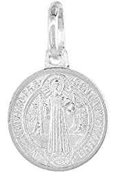 Dainty Sterling Silver St Benedict Medal Necklace 1/2 inch Round Italy