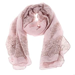 YKS Porcelain Pattern scarf Thin Soft Long Scarf Chiffon Scarf Wrap shawl Silk scarves For women Girl LADY (light pink)