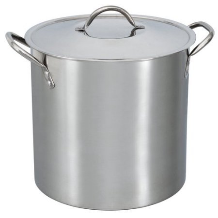 Mainstays 12-Qt Stainless Steel Stock Pot with Metal Lid (16 Qt Cast Iron Pot compare prices)