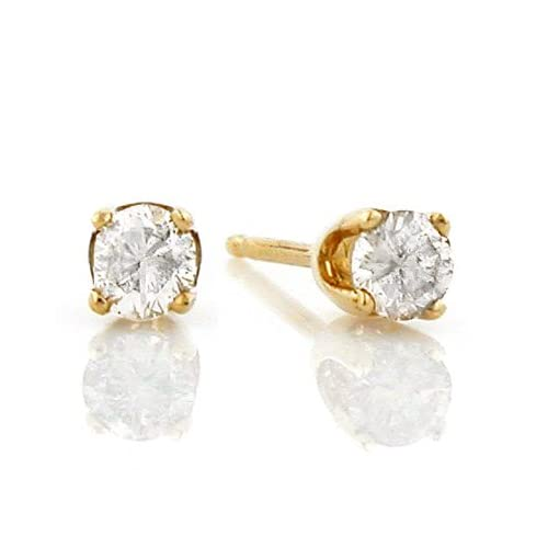 14K Yellow Gold 1/3 Carat Certified Diamond Stud Earrings