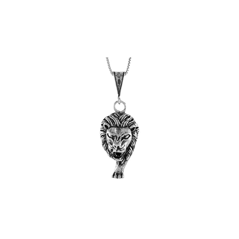 925 Sterling Silver 1 1/4 in. (33mm) Tall Large Lion Head Pendant (w/ 18 Silver Chain)