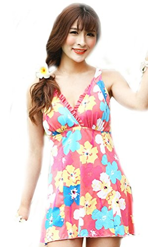 Demarkt Loose Swimming Costume Bathing Suit Lady Girls Flower Printed V Neck Dress Onesie Swimsuit Beach Wear