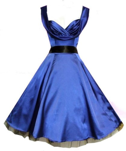 Glamorous 1950&#8242;s Vintage Style Blue Silky Sweetheart Full