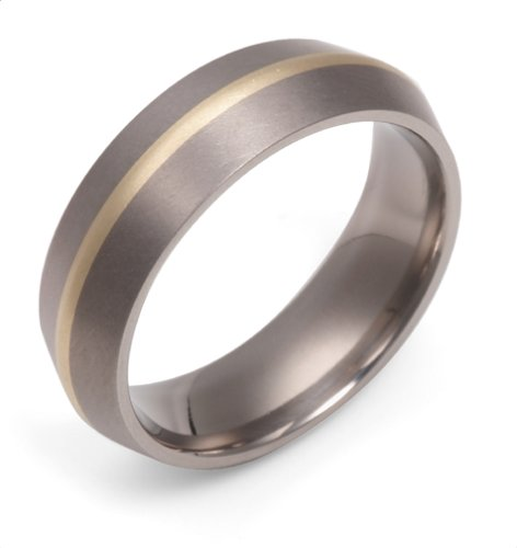 Men's Titanium and 18k 7mm Comfort Fit Band Ring, Size 11.5