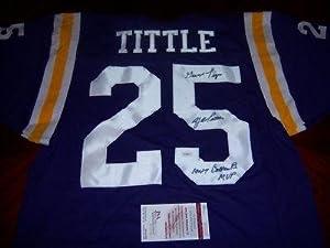 Ya Tittle Lsu Tigers,giants,hof Jsacoa Signed Jersey - Autographed College Jerseys by Sports+Memorabilia