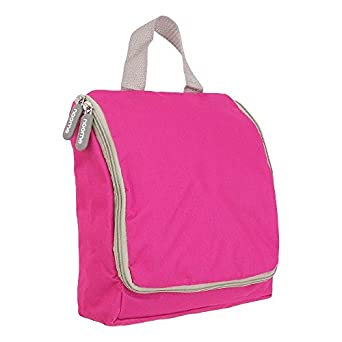 Mens/Ladies Hanging Large Toiletry Wash Bag with Hook (Pink/Grey Zips)