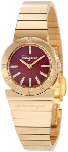 Ferragamo Women's F70SBQ5108i S080 Gancino Gold IP Red Enamel Diamond Watch