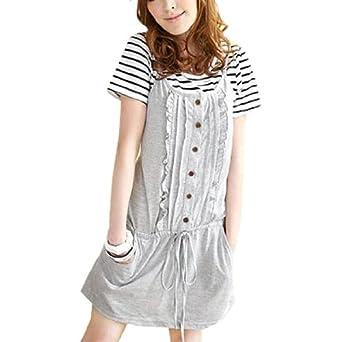 Allegra K Women Heather Gray Ruffled Front Drawstring Waist Mini Dress w Shirt XS