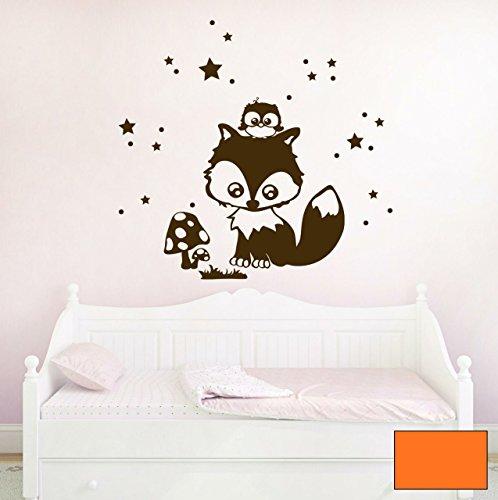 Graz-design-sticker-mural-dcoratif-motif-fuchslein-hermine-bb-motif-toiles-et-chouette-lotte-m1193-de-choix-couleur