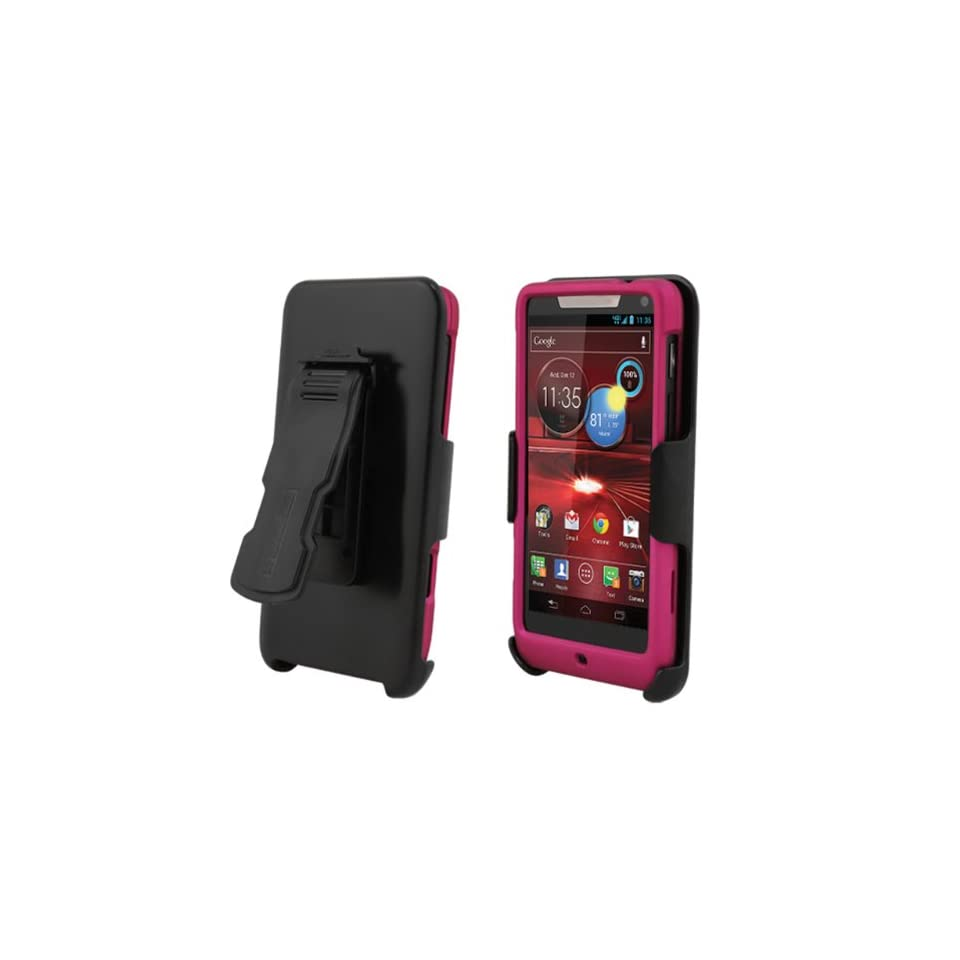 Motorola Droid RAZR Mini XT907 Rose Pink Cover Case + Kickstand Belt Clip Holster + Naked Shield Screen Protector Cell Phones & Accessories