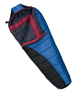Wenzel Omega II/Great Falls Mummy 0-Degree Sleeping Bag with Hood (Blue, Black Charcoal, Berry)