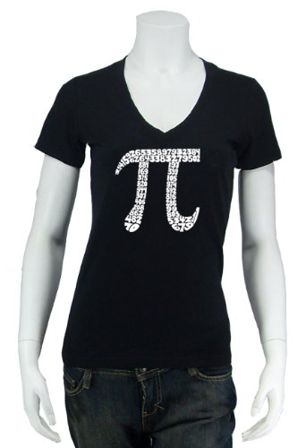 Women's Black PI V-Neck Shirt XS - Created using the first 100 digits of PI