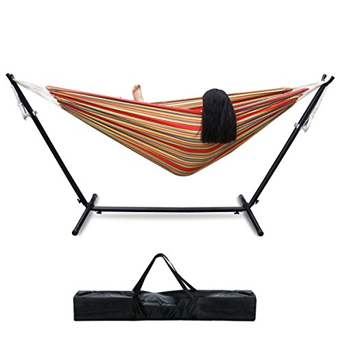 Zeny® Double Hammock With Space Saving Steel Stand Includes Portable Carrying Case