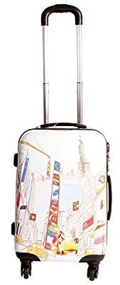 2408 New York City White Suitcase Multicolour Design Set of 3 Suitcases - Super Lightweight 4 wheels - Funky Luggage Set - Hard Plastic