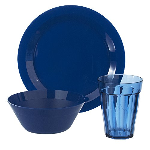 Cambridge Plate, Bowl and Tumbler Dinnerware 12 Piece Set Blue (Unbreakable Bowl Set compare prices)
