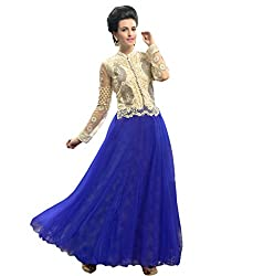 Suchi Fashion Embroidered Blue and Cream Net Semi Stitched Party Wear Gown