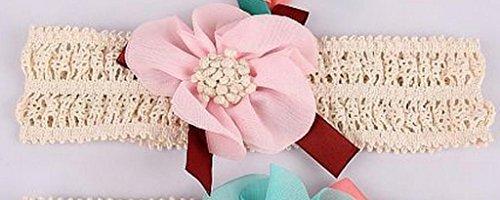 PinkXenia Elegant Pink lace and linen chiffon flower Newborn BabyGirl Soft headband