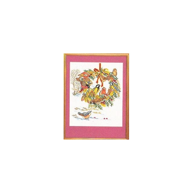 Eva Rosenstand Holiday Birds in Wreath Counted Cross Stitch Kit #12 986