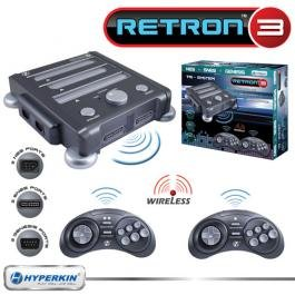 New Retron 3 Video Gaming System For Nes Snes & Genesis Charcoal Gray Two Original Controll Ports front-332613