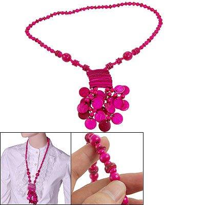 Rosallini Fuchsia Beads Button Rectangle Pendant Coconut Necklace