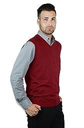 Blue Ocean Solid V-Neck Sweater Vest (X-Large, Burgundy)