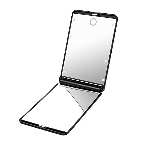 Plemo 8 LED Lighted Makeup Mirror with 2x Magnifying Mirrors for Cosmetic and Skin Care Adjustable Brightness, Square, Black
