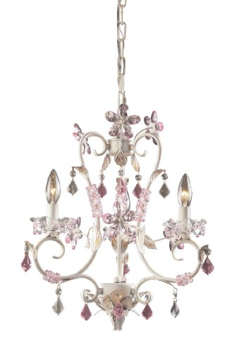B000U5SSFE Elk 9100/3 3-Light Chandelier In Antique White and Rose and Clear Crystal