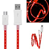 Wayzon Quality Red LED Visible Sparkling Flat High Speed Sync Micro USB Data Cable Lead Charger Suitable For Samsung Focus S I937 / Galaxy 551 / A / Ace 2 I8160 / Duos I589 / S6802 / Plus S7500