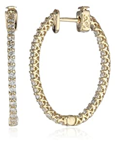14kt Yellow Gold Diamond Inside and Outside Lucida Set Oval Hoops, 1.1 Cttw (H-I Color, SI2-I1 Clarity)