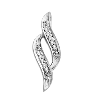 Miore 9ct White Gold Diamond Twisted Pendant (Pendant Only) MCJ908P