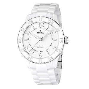 Festina Women's Quartz Watch with White Dial Analogue Display and White Ceramic Bracelet F16621/1