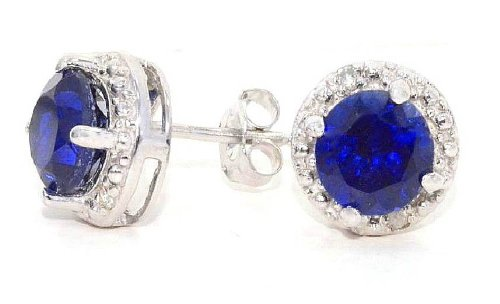 2 Ct Created Blue Sapphire & Diamond Round Stud Earrings 14Kt White Gold & Sterling Silver (Elizabeth Jewelry Inc Sapphire compare prices)