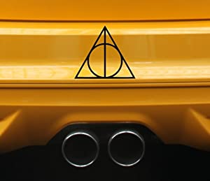Harry Potter Vinyl Car Window Decal Deathly Hallows Symbol Sticker Magic (Black)