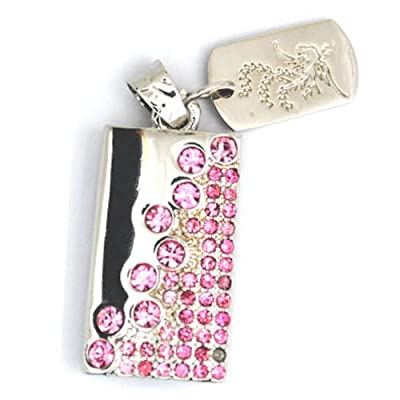 Silver&Pink Crystals 8GB Fashion style USB 2.0 Flash Memory Pen Drive Pendant for Necklace by pengyuan