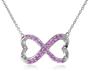 """Sterling Silver Created Pink Sapphire Infinity Heart Necklace, 18"""" by The Aaron Group - HK DI"""